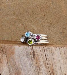 Birthstone Dot Rings in sterling silver. Found at www.nelleandlizzy.com I love #nellyandlizzy