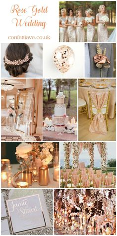 rose gold wedding mood board