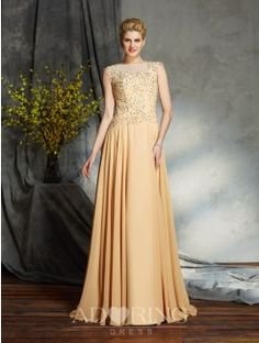 A-Line Scoop Sleeveless Chiffon Floor-Length Mother of the Bride Dress