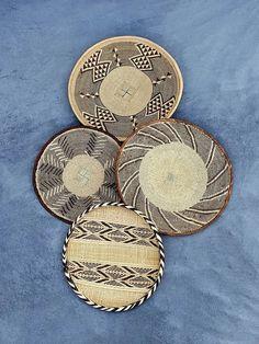 Set of lovely 4 Binga Baskets Wall Hanger, Hangers, Above Bed Decor, Baskets On Wall, Bohemian Decor, One Pic, Hand Weaving, Handmade Items, Wall Decor