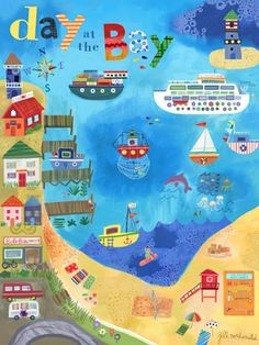"""""""Day at the Bay"""" kids canvas wall art by Jill McDonald for Oopsy daisy, Fine Art for Kids $119"""