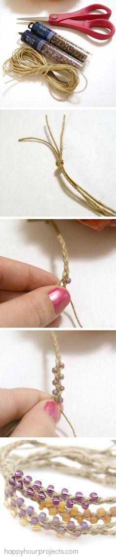 Braided Hemp  Bead Bracelets | Craft By Photo #DIYJewelry #hemp