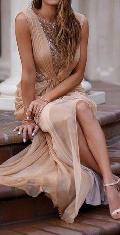 Blush draped gown