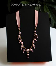 Unique and shining necklace pink and amethyst by DonarteHandmade on Etsy