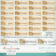 Party Central Word Strips
