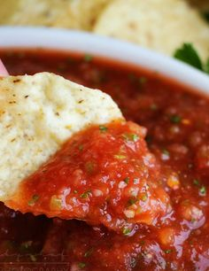 "Bright and fresh, this salsa is the best you've ever tasted! So easy to make… Bright and fresh, this salsa is the best you've ever tasted! So easy to make and it's sure to ""wow"" anyone you make it for! Appetizer Dips, Appetizer Recipes, Mexican Appetizers, Halloween Appetizers, Yummy Appetizers, Party Appetizers, Dinner Recipes, Party Snacks, Simple Recipes For Dinner"