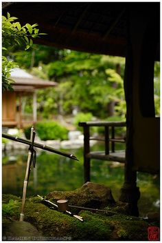 Two tea houses and a tsukubai