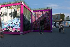 """The containers will even be treated with graffiti - a popular and <a href=""""http://en.wikipedia.org/wiki/Street_art_in_Melbourne"""">active part of the Melbourne scene</a>."""
