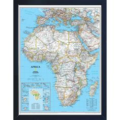 Framed Art Print: Africa Political Map by National Geographic Maps : Framed Maps, Wall Maps, Framed Art Prints, National Geographic Maps, Interactive Walls, Country Maps, Africa Map, Map Art, Stretched Canvas Prints