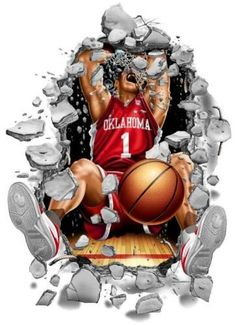 Oklahoma Sooners Wallcrasher Wall Decal - Basketball 3'