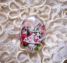 Wonderland Rabbit 30X40mm Glitter Unset Handmade Art Bubble Cameo Cabochon #Handmade #Cameo
