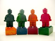 Recycled crayon Lego minifigs and bricks