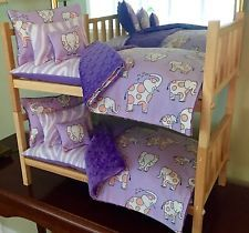 """Stackable Doll Bunk Bed & 10PC Bedding For 18"""" Girl Dolls American Made"""