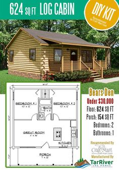 Highly affordable small and tiny log cabin kits that you can assemble yourself in days! Many choices from a number of manufacturers. Small Log Cabin Kits, Tiny Log Cabins, Small Cabin Plans, Cabin House Plans, Cabin Floor Plans, Tiny House Cabin, Log Cabin Homes, Cabins And Cottages, Tiny House Design
