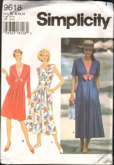 7d991f507 Sewing Pattern for Empire Waist Dress with Pleated Skirt & Sailor Collar  Vintage Nautical Size Bust Simplicity 9618 S
