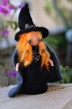 Needle Felted Doll Waldorf -Halloween Decoration--Wool Sculpture-Halloween witch art dolls-needle felt by Daria Lvovsky Needle Felted, Wet Felting, Felt Fairy, Witch Art, Fairy Dolls, Felt Dolls, Felt Ornaments, Halloween Crafts, Happy Halloween