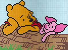 Winnie The Pooh And Piglet On A Log Perler Bead Pattern / Bead Sprite