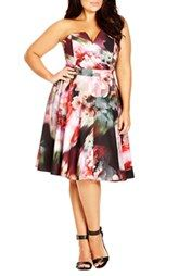 City Chic 'Poppy Fun' Print Strapless Notch Neck Dress (Plus Size)