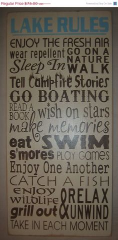 Lake Rules Primitive Subway Art Typography by CottageSignShoppe Lake Rules, Sunroom Decorating, Lake Cabins, Old Florida, Subway Art, Hand Painted Signs, Lake Life, Beach Cottages, Books To Read
