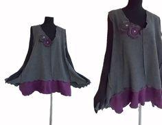 Sale Asymmetric Lagenlook Sweater Vest XXXL von RebeccasArtCloset
