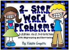 2 Step Word Problems: Addition and Subtraction with Regrouping and Borrowing. These cards can be used for a variety of activities! Each section includes 2 step word problems with either regrouping or borrowing. Third Grade Math, Recording Sheets, 2 Step, Addition And Subtraction, Word Problems, Elementary Education, Task Cards, Problem Solving, Being Used