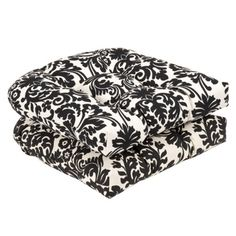 2-Piece Outdoor Conversation/Deep Seating Cushion Set - Black/White Floral
