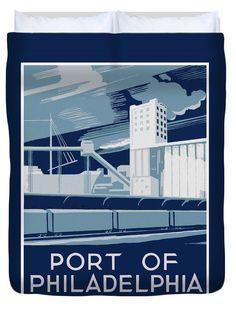 Vintage Port of Philadelphia Poster Duvet Cover, by Joy McKenzie, in several sizes, matching pillow available, on Pixels.com #duvet #interiordesign #Philadelphia