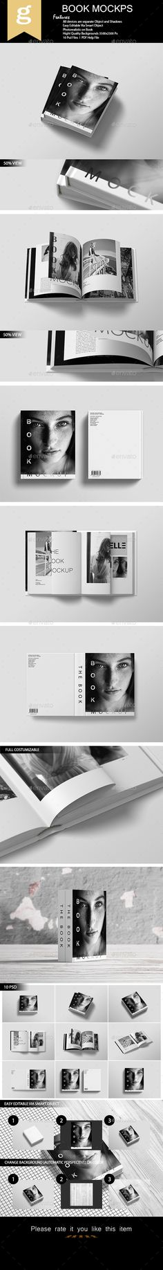 Book Mockup This item consist of 10 different styles of Book mock-ups to showcase your design in realistic appearances. These mock
