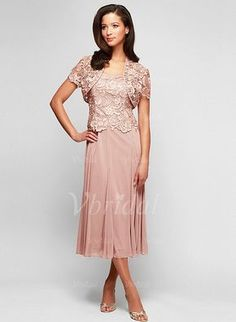 Mother of the Bride Dresses - $106.69 - A-Line/Princess Square Neckline Tea-Length Chiffon Lace Mother of the Bride Dress With Appliques Lace (0085094882)