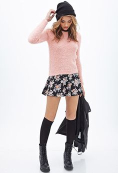 Shaggy Knit Sweater | FOREVER21 - 2000085190 I love this outfit, the only thing that I hate is the shoes and the jacket