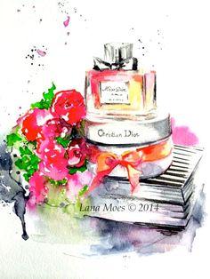 SOLD. Miss Dior Inspired Original Watercolor Painting Dior by Lana Moes #dior, #watercolor, #illustration, #lanasart