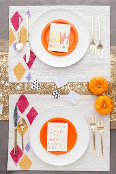 These pretty hand-stamped placemats are a total must-make.