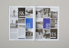Issue of Cuba Skate's 'zine. Layout Inspiration, Graphic Design Inspiration, Magazine Design, Magazine Layouts, Magazine Spreads, Catalog Design, Editorial Design, Layout Design, Photo Wall