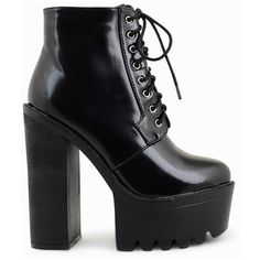 Shay Patent Cleated Platform Boots (£32) ❤ liked on Polyvore featuring shoes, boots, heels, laced boots, black boots, chunky black boots, laced up boots and heeled boots