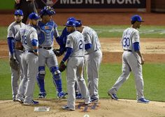 Kansas City Royals starting pitcher Yordano Ventura walks off the mound after being relieved by starting pitcher Danny Duffy during game three of the World Series on Friday, October 30, 2015 at Citi Field in New York.