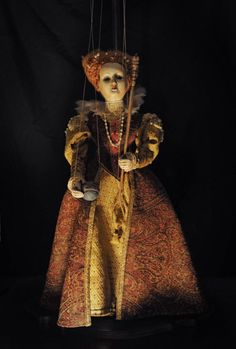"""The Virgin Queen,"" Hand carved Marionette, artist Sonya Marie Palencia"