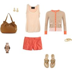 Gold and Coral, created by meganpilkey on Polyvore