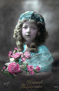 https://flic.kr/p/49qGde | Vintage Postcard ~ Pretty Flower Girl
