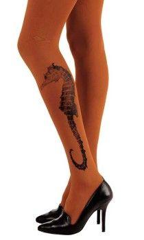 9d2afaaa00b Seahorse Print Patterned Tattoo Tights Orange   Black Tattoo Tights