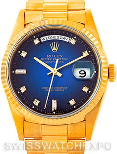 Rolex President Mens 18k Yellow Gold Vignette Diamond Watch 18238