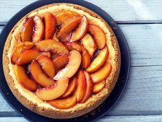Bourbon-Roasted Peach Cheesecake Recipe   Serious Eats