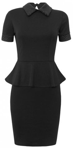 New in this week - this gorgeous black peplum dress with Peter Pan collar and stud detail on the arms ... only £31.95