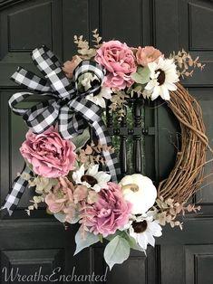 Fall Wreath Farmhouse Wreath Blush and White Sunflower Wreath Buffalo Check Bow Pink and White Wreat Pink Wreath, White Wreath, Diy Fall Wreath, Summer Wreath, Spring Wreaths, Tulle Wreath, Winter Wreaths, Burlap Wreaths, Wreath Ideas