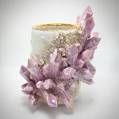 make the most delightful crystal vases and smudge bowls 😍 they are so well created, each piece really is art. and I like I drink my tea from art! Essarai Ceramics, you're great! Crystals Minerals, Rocks And Minerals, Stones And Crystals, Vase Cristal, Logos Retro, Crystal Vase, Crystal Shop, Diy Resin Art, Arts And Crafts