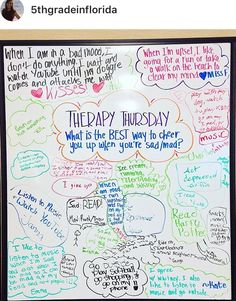 Therapy Tuesday -- best way to cheer yourself up? Future Classroom, School Classroom, Classroom Activities, Teaching Themes, Classroom Ideas, Classroom Quotes, Question Of The Day, This Or That Questions, Morning Board