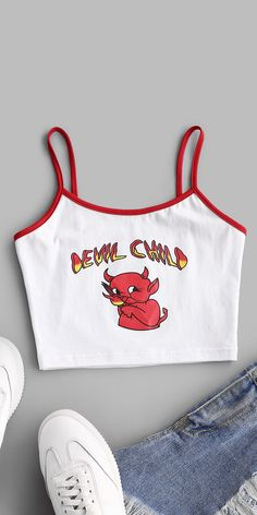 Cami Tops, Cute Tank Tops, Cute Shirts, Aesthetic Shirts, Aesthetic Clothes, Crop Top Outfits, Cute Casual Outfits, Crop Tops For Kids, Teen Fashion Outfits