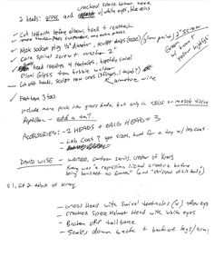 """Figure 2. Original concept production notes scribbled on the back of an ebay invoice by me 2017 Copyright KaptainMyke Figures Krang's Gross Dimension X Concept Drawing of """"Gross Head"""" by Michael Frederik Sorensen (KaptainMyke). 1990 Copyright Teenage Mutant Ninja Turtles and Mirage Studios are trademarks to their respective owners."""