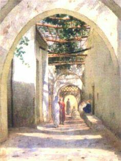 Algérie - Peintre Belge, David Emile Joseph de Noter (1825–1892), Aquarelle,Titre: Promeneurs à Tlemcen