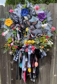 Excited to share this item from my #etsy shop: Easter Bunny Rag Bow Wreath - Farmhouse Bunny Wreath- Buffalo Check Bunny Wreath - Black and White Spring Wreath #farmhouse #easter #ragbow #bunny #wreath #etsy #etsyshop #shop #spring #google #instagood #easterbunnywreath #buffalocheck #blackandwhite #frontdoordecor #holidaze #springdecor #shabbychic #homedecor #designer #holiday Bow Wreath, Candy Wreath, Easter Wreaths, Holiday Wreaths, Wreaths For Sale, Wreath Crafts, Buffalo Check, Easter Decor, Search Engine