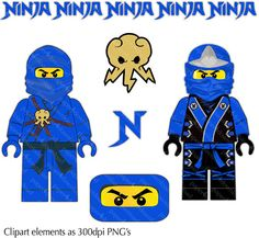 Blue Ninja  Minifig Clipart  Digital Collage PNG files